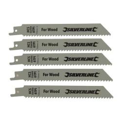 5 lames de scie-sabre pour bois 150mm Silverline