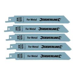 5 lames de scie-sabre pour métal Silverline